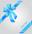 bow shiny wide blue ribbons four petals vector image vector image