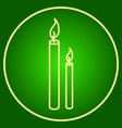 burning candles in a neon circle easter vector image vector image