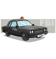 cartoon black fbi police car with red flasher vector image