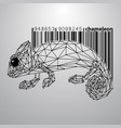 chameleon from triangles and barcode vector image vector image