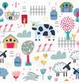 childish seamless farm pattern trendy kids vector image vector image