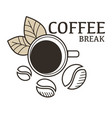 coffee beans and hot drink in cup isolated icon vector image vector image