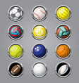 color sport balls buttons background vector image vector image