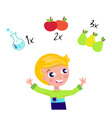 cute boy learning math vector image