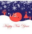 festive new year greeting card with fox vector image vector image