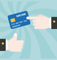 finger point at credit card vector image vector image