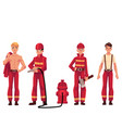 firefighter fireman in red protective suit with vector image vector image