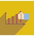 Flat web icon with long shadow economy graph vector image vector image