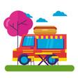 food truck hot dog park street trees vector image