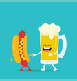 funny beer with hot dog vector image