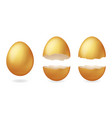 golden broken eggs cracked open easter eggshell vector image