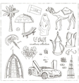 Hand drawn doodle UAE travel set vector image vector image