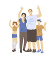 happy cheerful family man woman and two kids vector image vector image