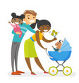 Happy diverse multiracial family with mulatto kids