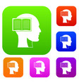 head with open book set color collection vector image vector image