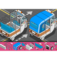 Isometric Italian Rickshaw in Rear View vector image