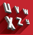 isometric letters u v w x y z drawn with stripes vector image