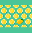 lemon fruits slice seamless pattern on green vector image vector image