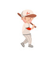 little boy in white uniform playing baseball kids vector image