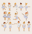 little cute ballerina girls drawn in pastel colors vector image
