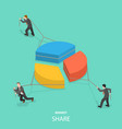 market share flat isometric concept vector image vector image