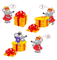 mouse girl and gift vector image