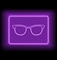 neon rectangle frame with sunglasses glowing vector image