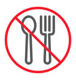 no eating line icon prohibition and forbidden vector image vector image