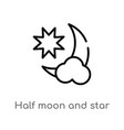 outline half moon and star icon isolated black vector image vector image