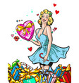 pin up woman with gifts blond girl character happy vector image vector image