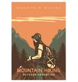 poster design mountain hiking outdoor adventure vector image vector image