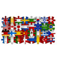 puzzle flag icon set background vector image