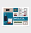 realistic cloakroom elements set vector image