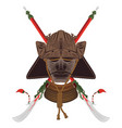 samurais mask with pair naginata vector image