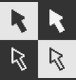 set of black and white pixel arrow cursor icon iso vector image vector image