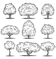 Set of deciduous trees Line art vector image