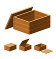 set wooden boxes with lids on white background vector image