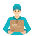 smiling young delivery man in blue cap standing vector image