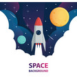 spaceship and moon in space galaxy background vector image vector image