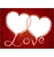 two hearts love frame pattern vector image vector image