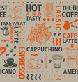 typographic coffee seamless pattern on vector image