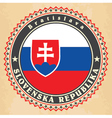 Vintage label cards of Slovakia flag vector image