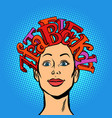 woman and alphabet letters hair on head vector image
