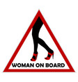 woman on board sign vector image vector image