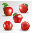 set red apple isolated on transparentbackground vector image