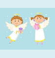angels kids with gifts greeting with holiday vector image