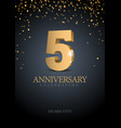 anniversary 5 gold 3d numbers vector image vector image