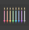 birthday cake candles with burning flame isolated vector image