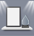 blank black frame and glass award trophy vector image
