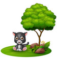 cartoon baby jaguar sitting under a tree on a whit vector image